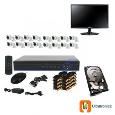 Special Offer! - Full HD AHD CCTV Kit - 16 Channel CCTV DIY camera system - 16 Bullet Cameras plus 500 GB Hard Drive and Monitor