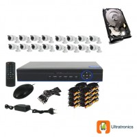 Special Offer! - Full HD AHD CCTV Kit - 16 Channel CCTV DIY camera system - 16 Bullet Cameras plus 500 GB Hard Drive