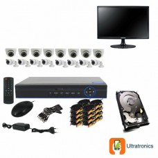 Full HD AHD CCTV Kit - 16 Channel CCTV DIY camera system - 8 Dome and 8 Bullet Cameras plus 500 GB Hard Drive and Monitor