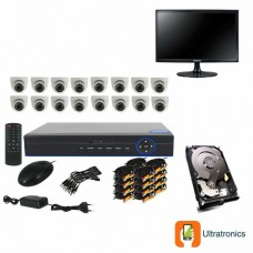 Full HD AHD CCTV Kit - 16 Channel CCTV DIY camera system - 16 Dome Cameras plus 500 GB Hard Drive and Monitor