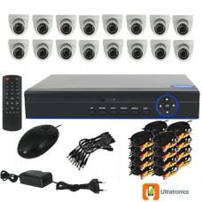 Full HD AHD CCTV Kit - 16 Channel CCTV DIY camera system - 16 Dome Cameras