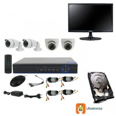 Full HD AHD CCTV Kit - 4 Channel CCTV DIY camera system - 2 Dome and 2 Bullet Cameras plus 500 GB Hard Drive and Monitor