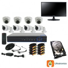 Full HD AHD CCTV Kit - 8 Channel CCTV DIY camera system - 4 Dome and 4 Bullet Cameras plus 500 GB Hard Drive and Monitor