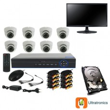 Full HD AHD CCTV Kit - 8 Channel CCTV DIY camera system - 8 Dome Cameras plus 500 GB Hard Drive and Monitor
