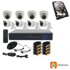 Full HD AHD CCTV Kit - 8 Channel CCTV DIY camera system - 4 Dome and 4 Bullet Cameras plus 500 GB Hard Drive