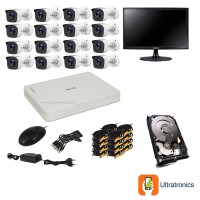 HIKVISION CCTV Kit - 16 Channel CCTV DIY camera system - 16 Bullet Cameras plus 500 GB Hard Drive and Monitor
