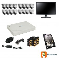 HIKVISION CCTV Kit - 16 Channel CCTV DIY camera system - 16 Dome Cameras plus 500 GB Hard Drive and Monitor