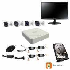 HIKVISION CCTV Kit - 4 Channel CCTV DIY camera system - 4 Bullet Cameras plus 500 GB Hard Drive and Monitor