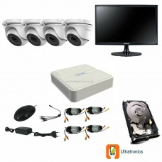 HIKVISION CCTV Kit - 4 Channel CCTV DIY camera system - 4 Dome Cameras plus 500 GB Hard Drive and Monitor