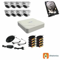 HIKVISION CCTV Kit - 8 Channel CCTV DIY camera system - 8 Dome Cameras plus 500 GB Hard Drive