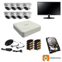 HIKVISION CCTV Kit - 8 Channel CCTV DIY camera system - 8 Dome Cameras plus 500 GB Hard Drive and Monitor