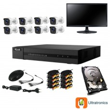 HIKVISION CCTV Kit - 8 Channel CCTV DIY camera system - 8 Bullet Cameras plus 500 GB Hard Drive and Monitor