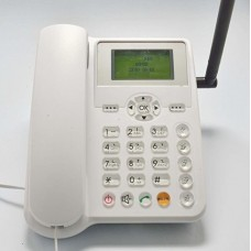 B-Boss ETS5623 Wireless Desktop Cordless Landline Phone - GSM SIM Card Based Cellphone (White)